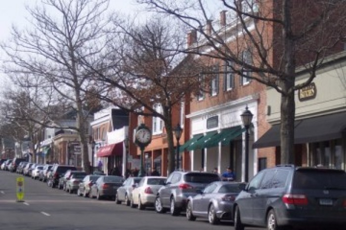 cars parked along the street - New Canaan