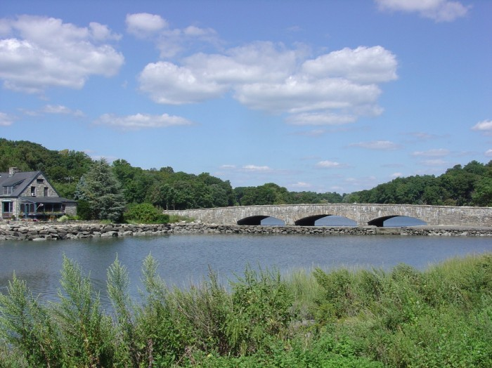 view of the river and the bridge - Darien