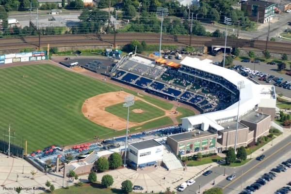 Bridgeport aerial view of the stadium