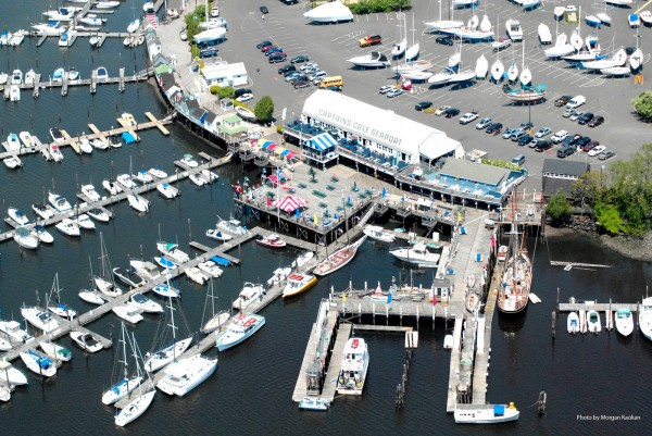 Bridgeport aerial view of the docks