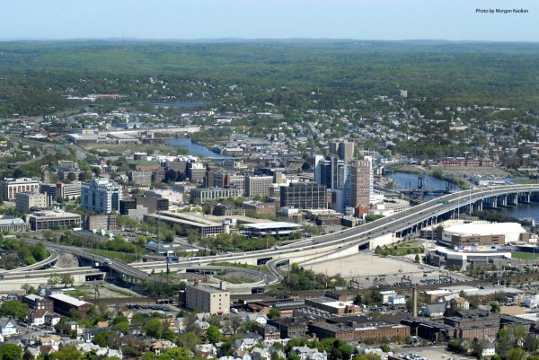 Bridgeport aerial view of the city