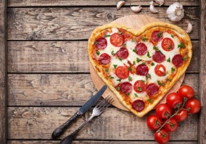 Healthy Pizza in heart shape
